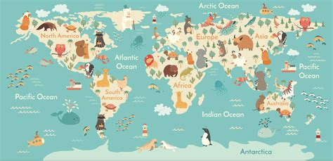 World Wall Mural kids world map wallpaper mural felt