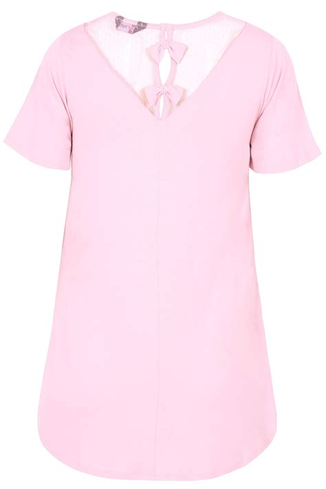 Name Card Mesh pink jersey top with mesh insert bow detail plus size