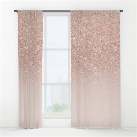 Double Window Treatments by Rose Gold Faux Glitter Pink Ombre Color Block Window