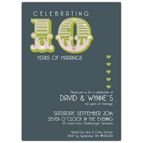 Big Ten 10th Anniversary Invitations Paperstyle 10 Year Anniversary Invitation Templates