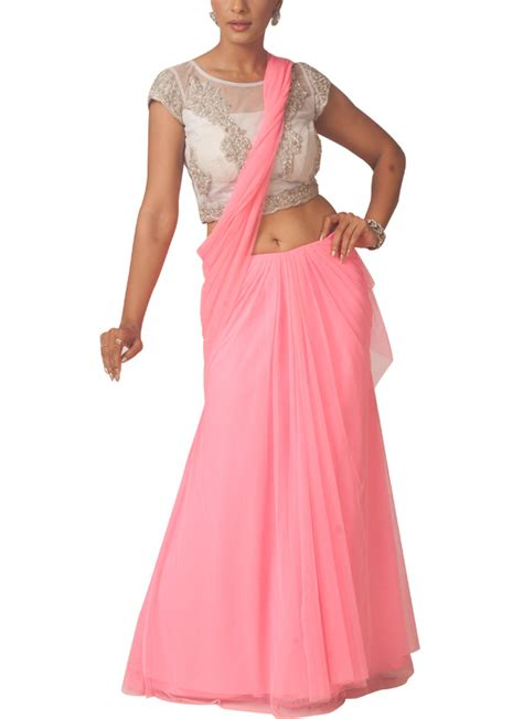 draped sarees neha gursahani pink pre draped lehenga saree at