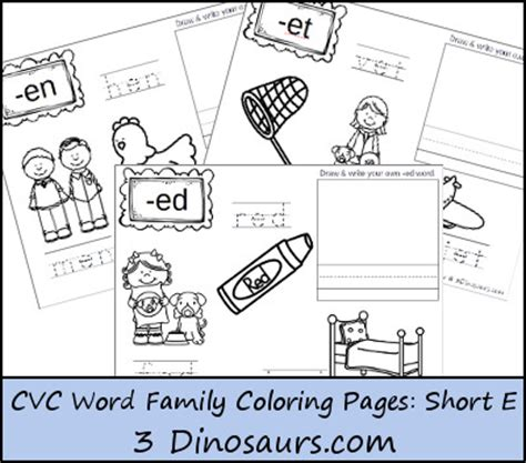 word family coloring page free short vowel e word family coloring pages free