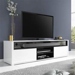 Study Bookcases Evoque White High Gloss Tv Unit With Soundbar Shelf
