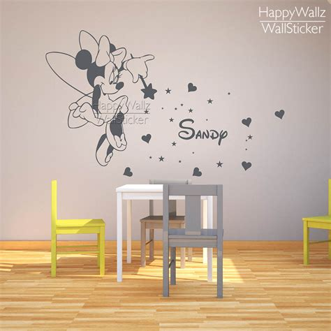 Personalized Name Wall Decals For Nursery Mini Mouse Name Wall Sticker Diy Baby Nursery Custom Name Wall Decal Room Children Name