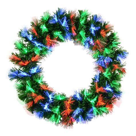 60cm 96 tips red blue green led fibre optic wreath