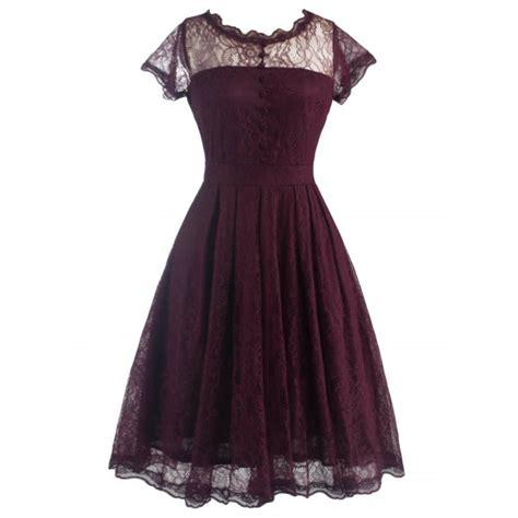 wholesale retro laciness back v dress for xl wine