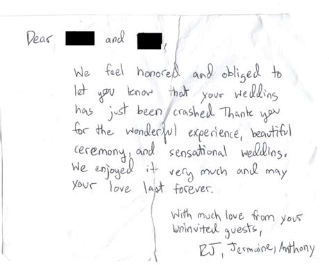 Wedding Crashers Leave 1 by Wedding Crashers Leave Awesome Thank You Note For