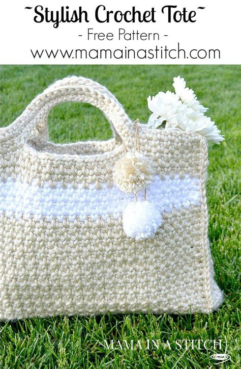 free tote bag pattern pinterest stylish crochet tote free pattern mama in a stitch
