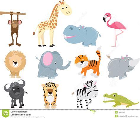 imagenes libres animales conjunto animal de la historieta del safari salvaje lindo