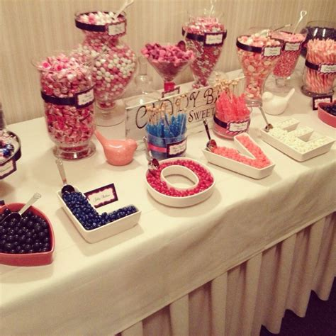 pink navy bar wedding candybar decorate with letter dishes bar