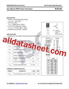 Mje350 Transistor mje350 データシート pdf inchange semiconductor company limited