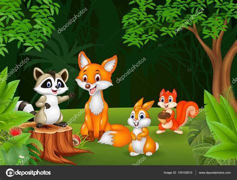 imagenes animales de la selva animados dibujos animados de animales salvajes en la selva vector