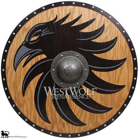 solid oak viking raven shield forged iron boss sca