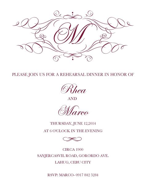 free menu templates for dinner pretty rehearsal dinner invitation template free images