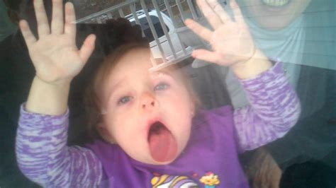 funny baby licking glass door youtube