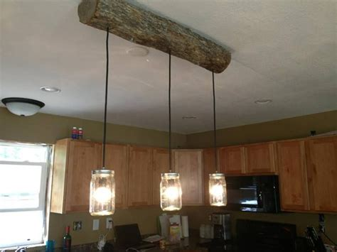 Rustic Kitchen Light Fixtures Above Kitchen Island Bar Diy Cabin Light Fixture A New Rustic Twist On Jar Light Fixture