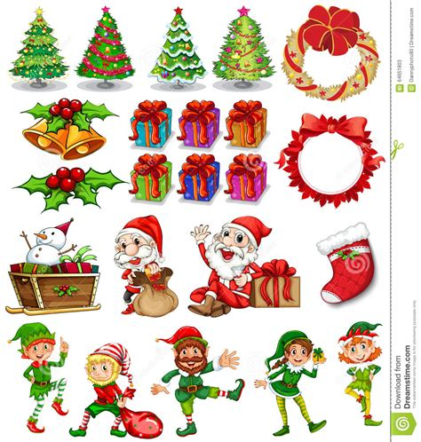 theme ornaments theme with santa and ornaments stock vector