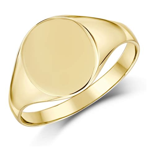 9ct yellow gold oval shape signet ring ladie s