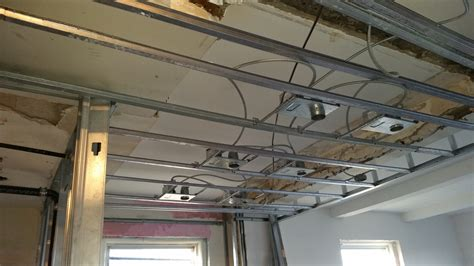 Drop Ceiling Recessed Lights Finish In Of Plumbing New Recessed Lighting Being Installed In The New Drop Ceiling All