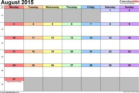 Calendar Template Monthly August 2015 Calendar August 2015 Uk Bank Holidays Excel Pdf Word