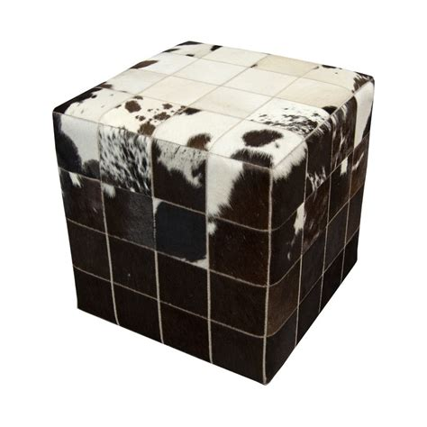 Cowhide Cubes cowhide leather white brown cube handmade by furhome
