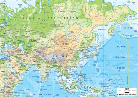 physical map  asia  asian countries maps maps