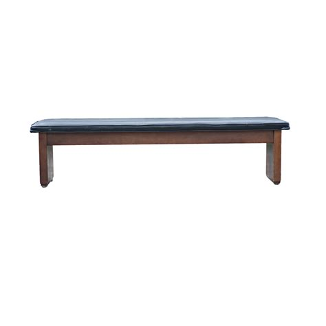 72 quot black padded wooden bench