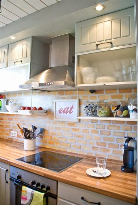 faux brick backsplash ideas pictures remodel and decor remodelaholic tiny kitchen renovation with faux painted