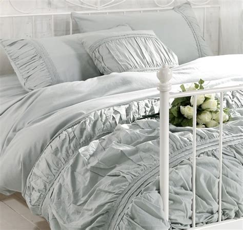grey ruffle comforter set free shipping vintage 100 cotton solid color white grey