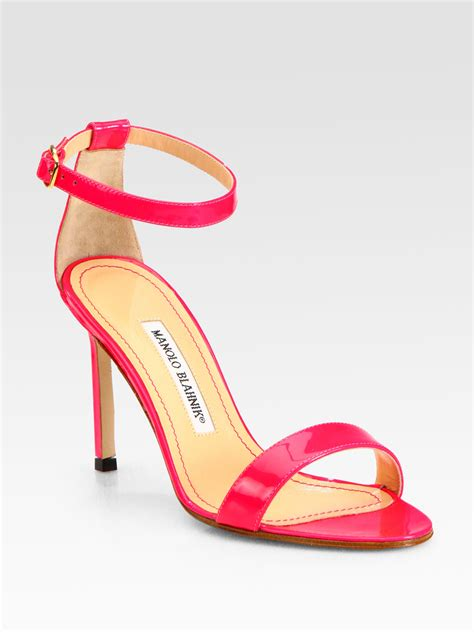 pink patent sandals manolo blahnik chaos patent leather ankle sandals in