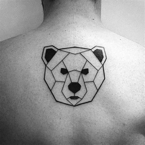 geometric bear tattoo small simple mens geometric bear upper back tattoo