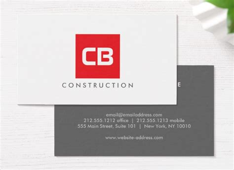 25 construction business card templates free premium