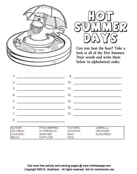 printable summer activity sheets hot summer days alphabetical order free coloring pages
