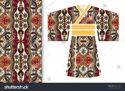 kimono repeat pattern vector fashion illustration decorative stylized japanese