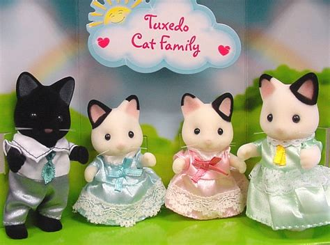 Sylvanian 5181 Tuxedo Cat Family calico critters tuxedo cat family calico critters tuxedo cats and sylvanian families