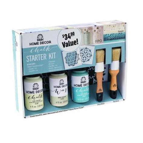 folkart home decor cascade and sheepskin chalk finish paint starter kit 34187 the home depot