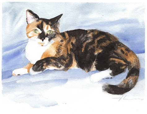 calico cat painting calico cat watercolor by mike theuer daler rowney