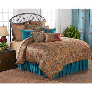 san angelo comforter set with teal bedskirt king