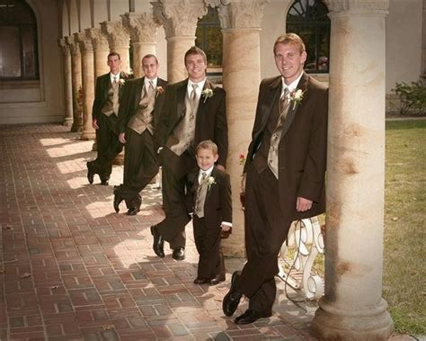 photo gallery photo groomsmen in brown tuxedos