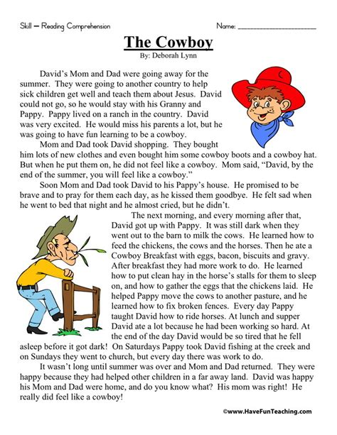 2nd grade reading worksheets reading comprehension worksheet the cowboy