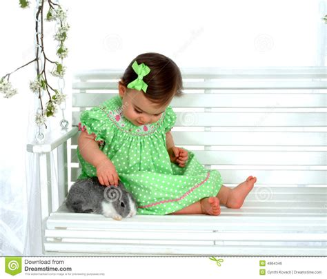 bunny baby swing baby and bunny on swing royalty free stock image image