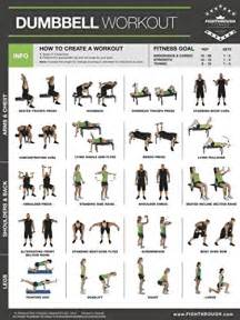 dumbbell exercises laminated poster chart strength