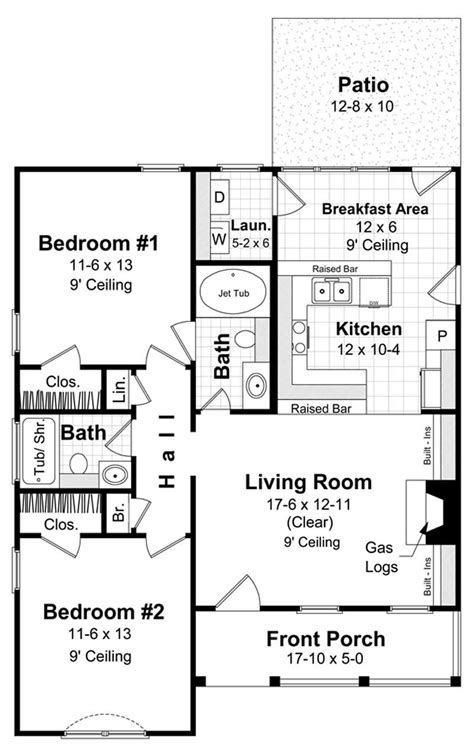 Country Home Plan - 2 Bedrms, 2 Baths - 1000 Sq Ft - #141-1230