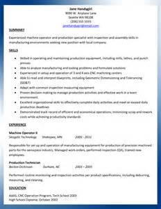 Machinist Resume Template by Sle Machinist Resume Ajac