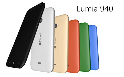 Microsoft Lumia 940 Xl microsoft lumia 940 xl rendered in detail with various color versions and included