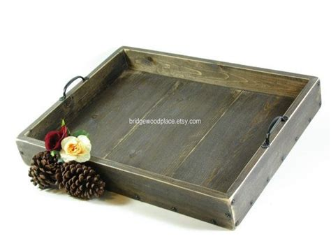 Large Ottoman Trays Ottoman Tray Large Wooden Coffee Table Tray Serving Tray With Handles Via Etsy Decor