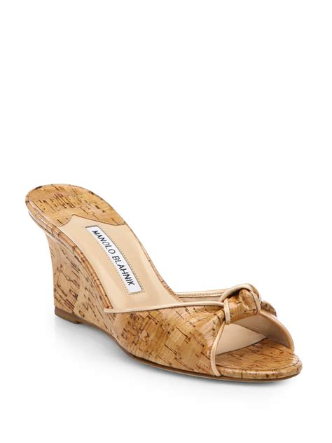 wedge slide sandals manolo blahnik cork wedge slide sandals in beige