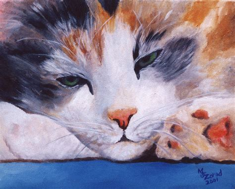calico cat painting calico cat power nap series by jo zorad
