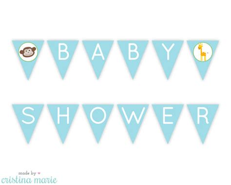 Printable Baby Shower Banners by Instant Jungle Baby Shower Printable Pennant