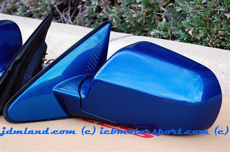 used jdm dc5 power folding mirrors arctic blue pearl b507p mint